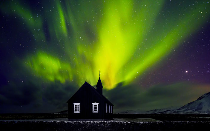 Northern lights in Iceland's Arctic region.