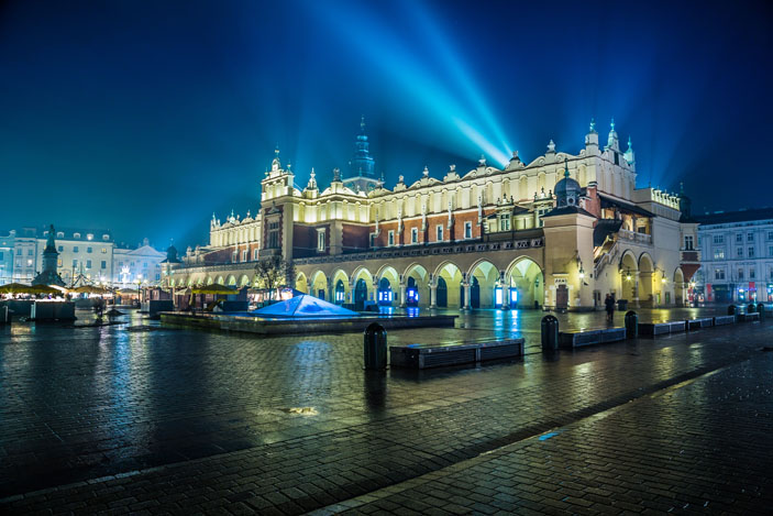 Krakow old city by night.