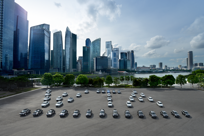 The 40-strong Porsche fleet at this year's WTA Finals in Singapore