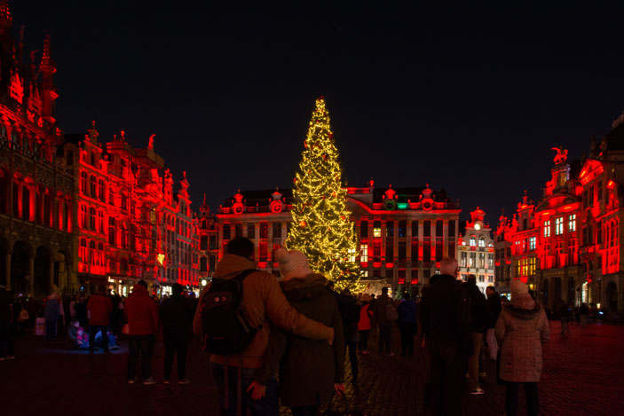 Grand Place christmas lights show in Brussels, Belgium. Photo: kay roxby / Shutterstock
