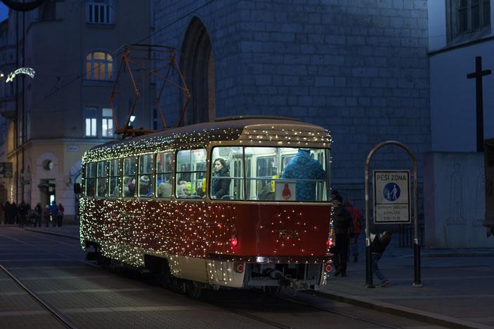 Christmas tram lit up in Brno, Czech Republic. Photo: Patrik Slezak / Shutterstock