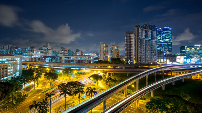 Jurong East by night. NgJi3Qi/Shutterstock