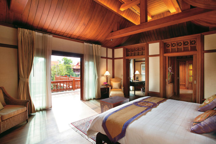 The Grand Deluxe Villa, like many of the rooms, is distinctive for its regional and local touches.