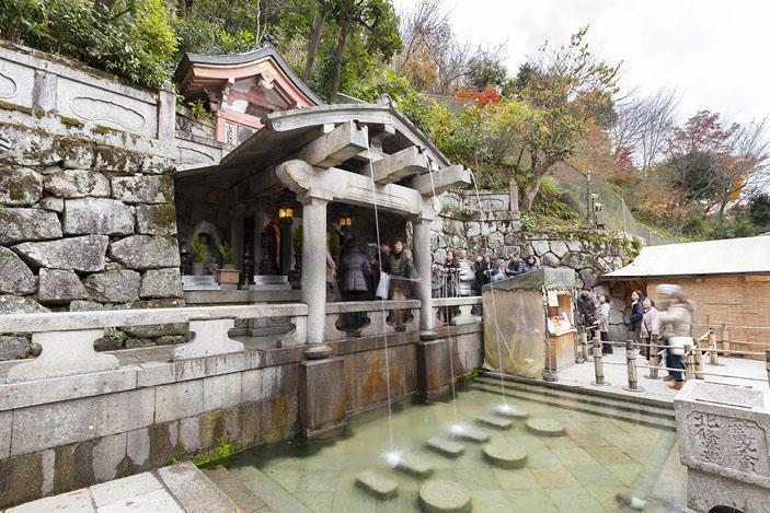 The Otowa-no-taki waterfall, Kyoto, Japan.