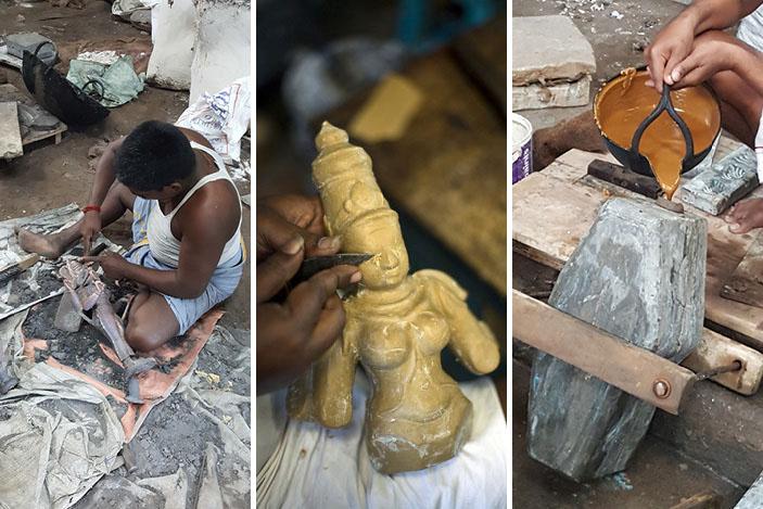 making deities of Kumbakonam, using wax.