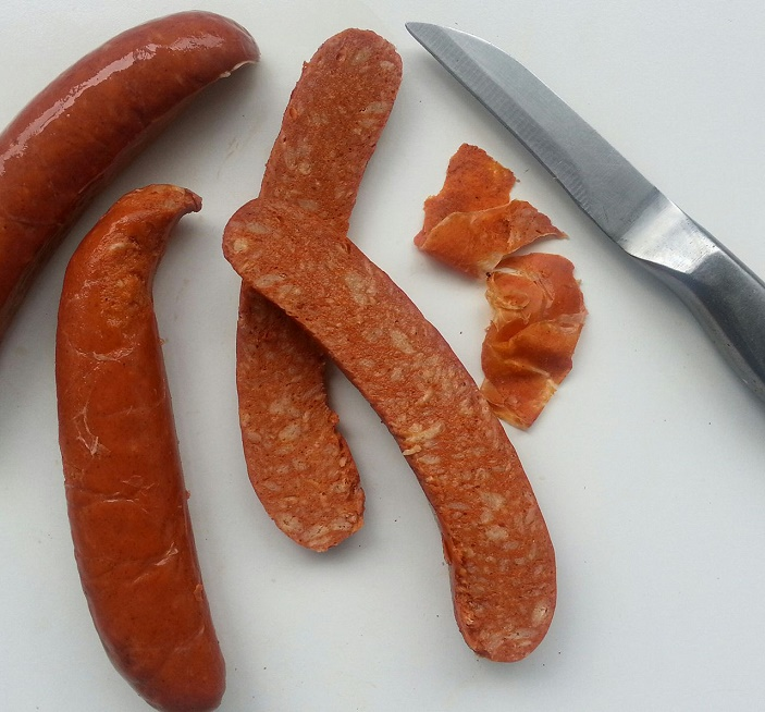 Chorizo sausages with chicken meat