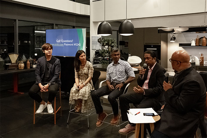 Keep It Going: By Design panelists, Audra Morrice, Kenneth Tan, Abimanyu Shunmugam, Mahendran Reddy, Kannan Chandran