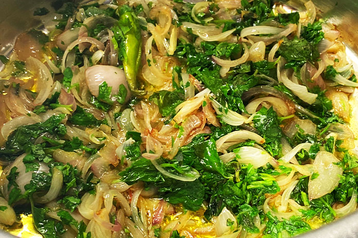 herbs and onions